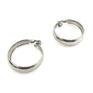 Jewelry - Vintage Clip On Hoops Silver Tone Hoop Earrings